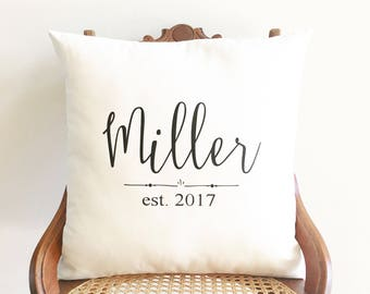 2nd anniversary gift, personalized wedding date pillow, cotton anniversary gift, family name pillow cover, farmhouse pillows, wedding gift