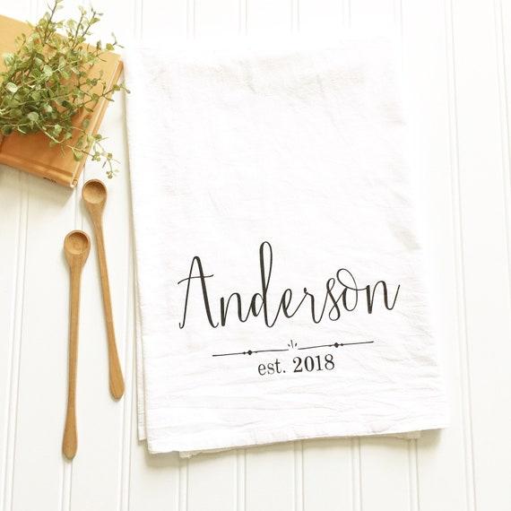 wedding gift gift for newlyweds personalized tea towel flour sack tea towel custom kitchen gifts monogrammed tea towel custom tea towel