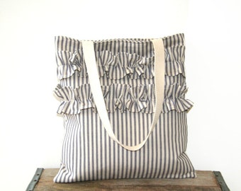 ruffled tote bag / market bag / shabby chic / nautical / farmhouse country / blue cream ticking / spring summer fashion