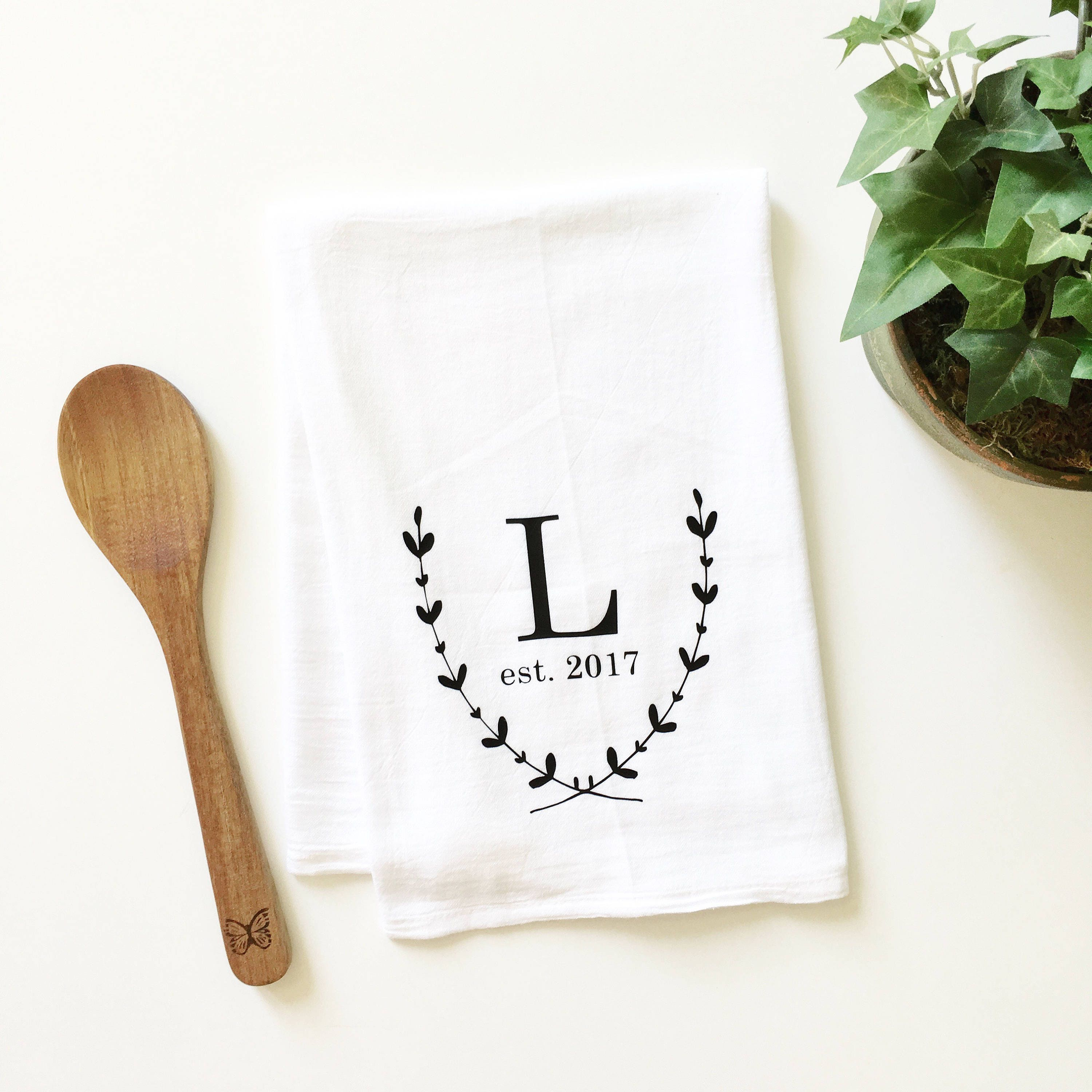 Embroidered Towels For Wedding Gift: Monogrammed Tea Towel Personalized Tea Towel Wedding Gift