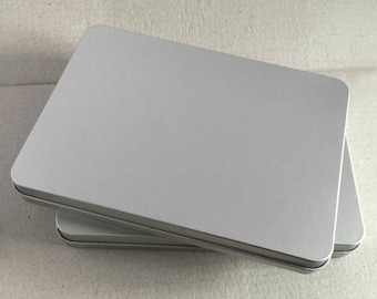 Rectangular Metal Tin, Blank Hinged Tin, Color Silver 450ml Tin box, One Tin Box, Tin Box For Craft Supply