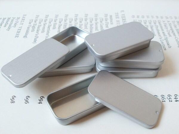 Petit coulissant couvercle bidons, boîte bijoux, à bijoux, boîte bougie d'étain, petit récipient, blanc (lot de 12) couleur argent, petit organisateur de 10ml, petite boîte de rangement 9f6992