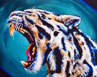 CLOUDED LEOPARD Small Square Acrylic Original Painting
