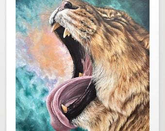 LIONESS SKY Fine Art Print, Oil Painting Lion Animal, Clouds Nature 5x7, 8x10, 11x14