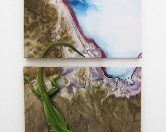 FLOOD ANOLE Original Oil Canvas Painting Art Lizard Animal Surreal Diptych Green Satellite Map Australia Reptile Water Blue Sarah Smith