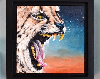 CHEETAH Sky Small Square Original Acrylic Painting Big Cat Animal Art