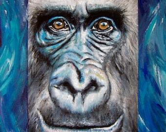 GORILLA EYES Small Original Animal Acrylic Painting by Sarah Smith