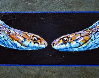 SAN FRANCISCO Garter Snake Endangered Reptile Original Acrylic on Slate Small Painting