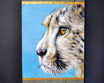 CHEETAH STARE Original Acrylic on Slate Framed Painting Animal Small Eyes