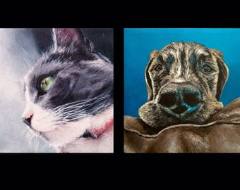 Pet Commission Painting Portrait Drawing Custom Original Art Realistic
