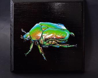 SCARAB BEETLE Original Acrylic on Panel Black Small Square Painting