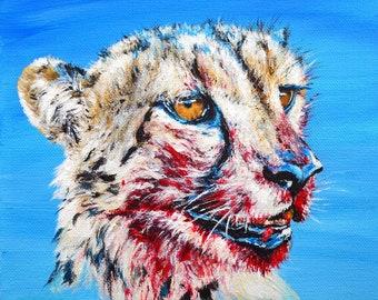 CHEETAH KILL Original Acrylic Painting Big Cat Small Blue Square 8x8