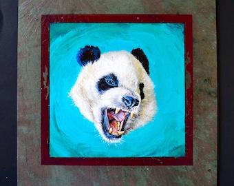 PANDAMONIUM Original Acrylic on Slate Panda Bear Face Animal Painting
