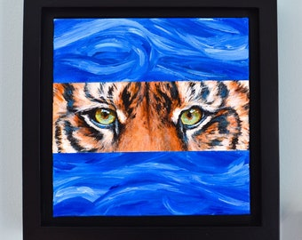 TIGER STARE Acrylic on canvas original small square animal blue eyes painting