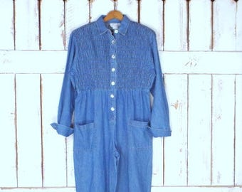 ef449c62cfc7 Vintage blue jean denim long sleeve jumpsuit denim coveralls chambray  jumper one piece