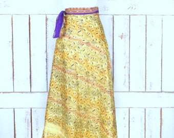 Vintage long Indian floral tribal print reversible wrap skirt/layered sheer flowy boho festival skirt/gold/ivory/purple wrap skirt
