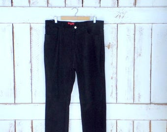 90s vintage black suede leather high waisted pants/black suede bottoms/womens 16