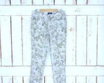 90s vintage light grey rose floral print stretch denim high waisted jeans/flower printed denim jeans/10/medium