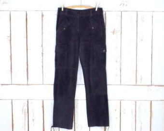 Vintage dark brown suede leather cargo style pants/90s suede drawstring ankle pants