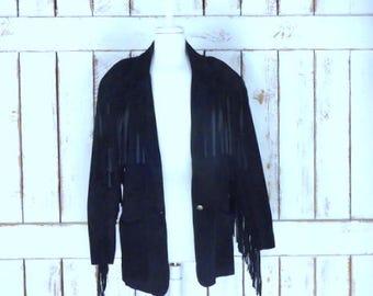 Vintage black suede leather fringe blazer jacket/festival fringe jacket/boho/hippie/country western fringe coat/medium