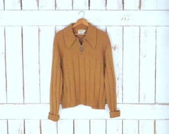 Vintage 60s mustard yellow chunky wool Kingsmen California pullover sweater/collared pullover sweater