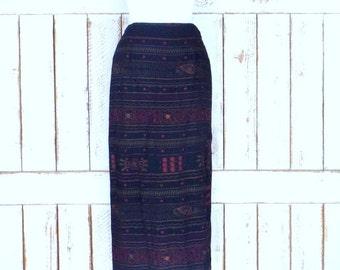Vintage Chicos black tribal embroidered maxi skirt/long boho skirt/Indian print long skirt