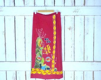 Vintage red/yellow fish print maxi faux wrap skirt/long batik vacation boho/hippie festival wrap skirt/ocean/beach cover up skirt