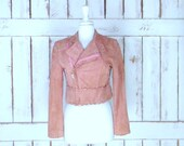 Vintage 90s peach pink quilted suede leather motorcycle bomber jacket fitted cropped suede moto jacket