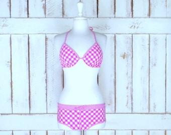 d647343aa14 Pink and white gingham Victorias Secret bikini/checkered/plaid Pink Love 2  piece bathing suit/boy shorts swimsuit/36 C/medium