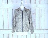 Vintage leopard face print silk windbreaker jogging flight jacket silk sports jacket cheetah animal silk bomber