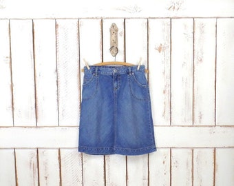 3e811ffa73a3eb Vintage blue faded wash jean denim Banana Republic chambray pencil skirt/minimalist  skirt/short knee length denim 90s skirt/4