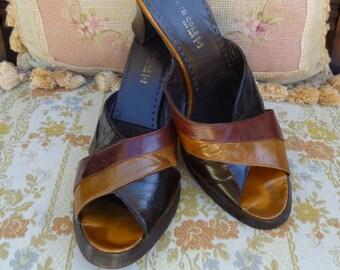 845d1da698610 Vintage woven brown leather open toe sandals/huarache   Etsy