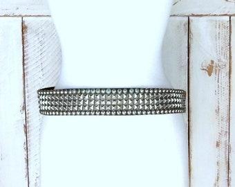 des années 90 argent vintage en cuir noir clouté métal punk rock ceinture large  métal stud ceinture ceinture heavy metal tour de taille 32
