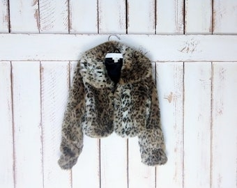 aae43191a52c Vintage 90s little girl/baby chunky faux fur leopard print coat/faux fur  jacket/baby girl/medium/7/8
