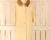 Vintage ivory wool boucle 60s mink fur collar coat ivory wool winter coat medium large
