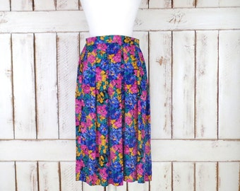 966823957f Pink/blue/yellow bold floral vintage midi skirt/sheer floral skirt/Talbots/8  petite