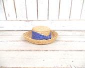 BOGO Sale Vintage light tan brown woven straw sun hat/gardening farming hat/beach hat