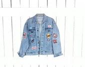 Vintage 90s patch faded blue denim jean jacket west coast phoenix 79 distressed denim trucker jacket unisex jean jacket