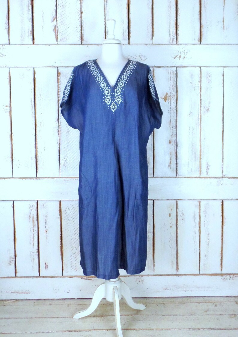 Blue jean denim caftan style embroidered maxi tribal | Etsy
