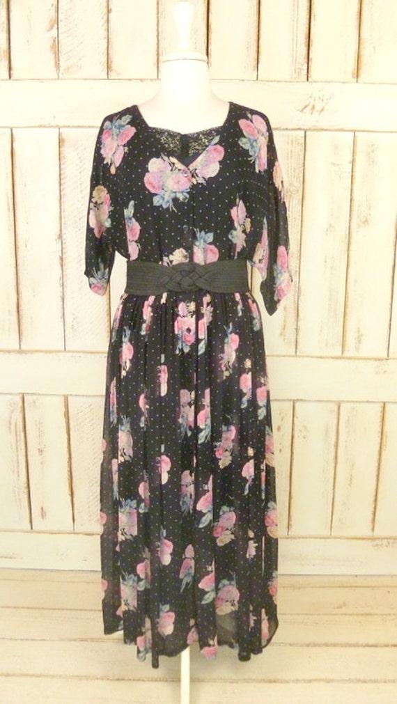 90s floral maxi dress/black floral dress/vintage p