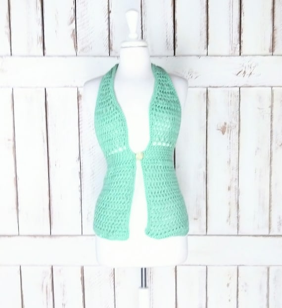 Vintage hand knit/crochet halter top/bikini cover