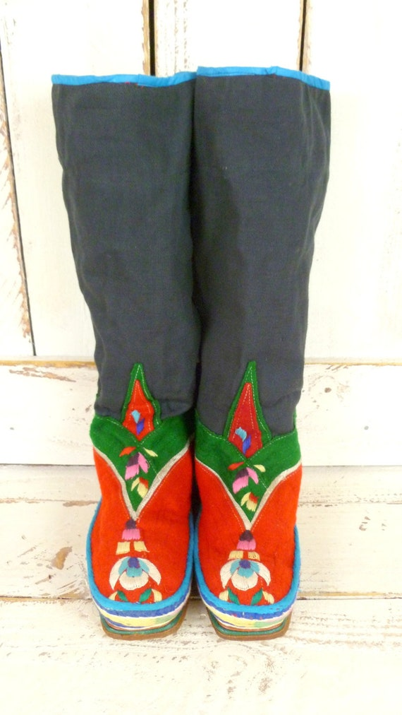floral woven Colorful boots hand tribal vintage wool embroidered q6PSwIP