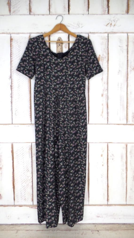 All that Jazz Jumpsuit Black and White Floral Jumpsuit Wide Leg Jumpsuit Vintage 90s Jumpsuit Short Sleeve Jumpsuit Size Medium
