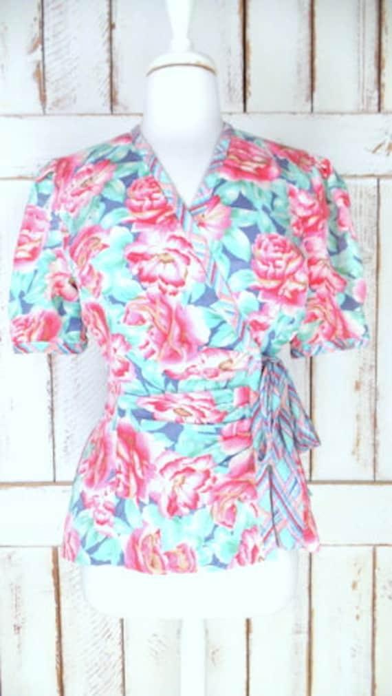 Vintage pink/blue floral silk short sleeve wrap b… - image 2