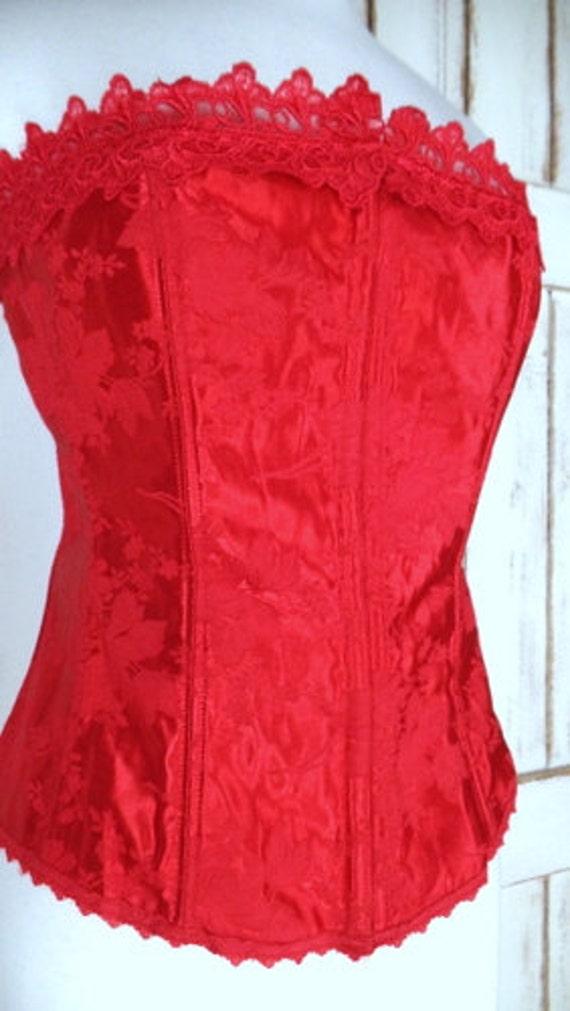 90s Fredericks of Hollywood vintage red floral sa… - image 4