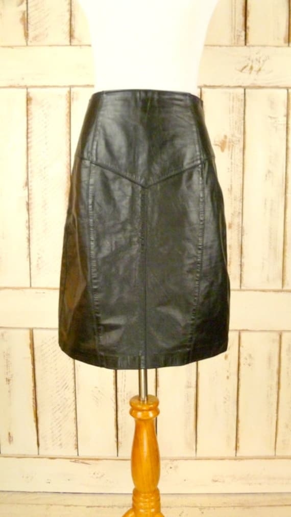 leather fitted waisted high vintage 80s skirt black medium length knee skirt leather small pencil 4ZtwxqTq