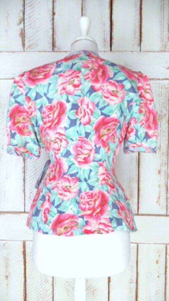 Vintage pink/blue floral silk short sleeve wrap b… - image 4