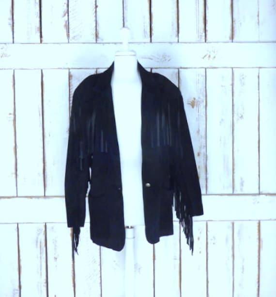 Vintage black suede leather fringe blazer jacket/f