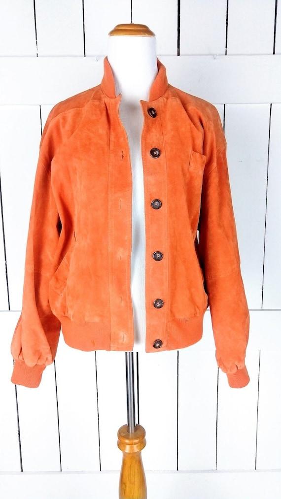 Vintage orange suede leather bomber jacket/small - image 2