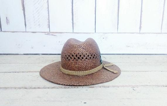 Vintage 90s brown natural straw summer fedora hat… - image 3